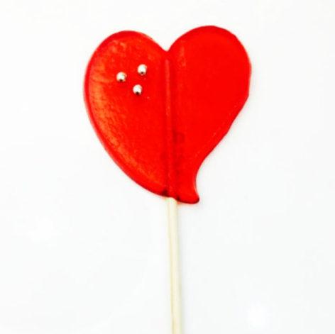 Piruleta corazon caramelo grande sabor fresa 1